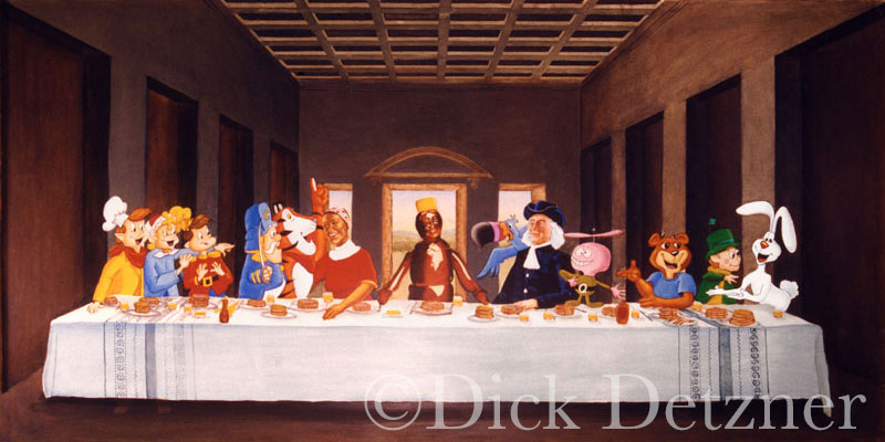 breakfast cereal characters sitting in setting similar to DaVinci's Last Supper