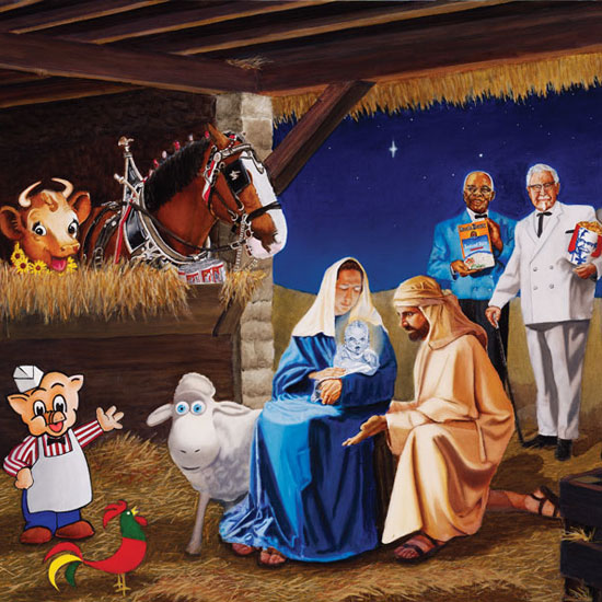 nativity scene featuring commercial icons