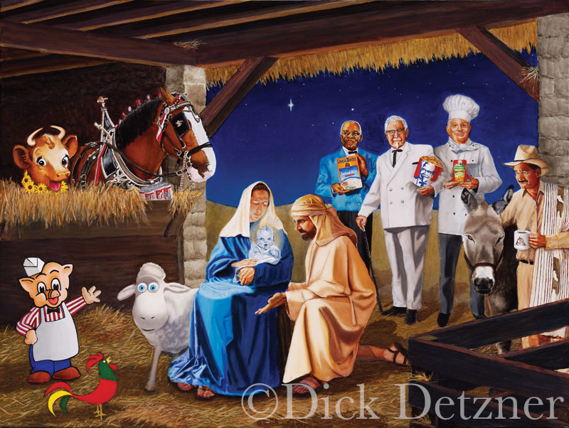 nativity scene with commercial icons in place of religious figures