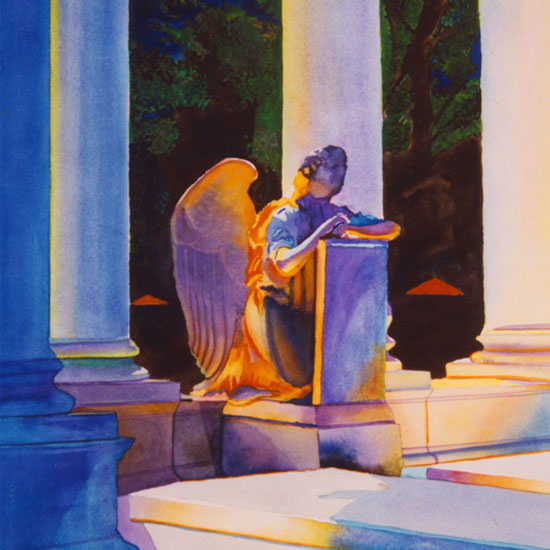 statue of angel kneeling