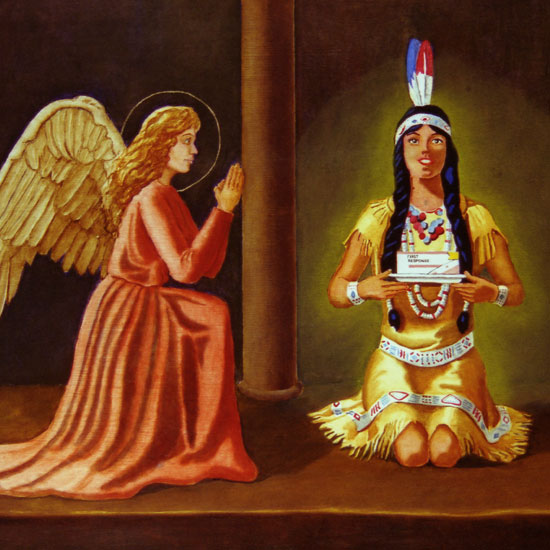 angel kneeling before Land'o'Lakes Indian maiden