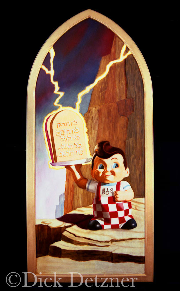 Big Boy holding stone tablets getting struck by lightning