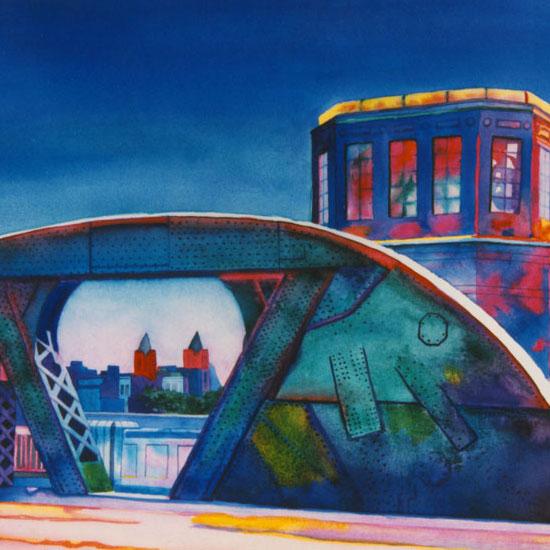 edifice at base of bridge over Chicago River