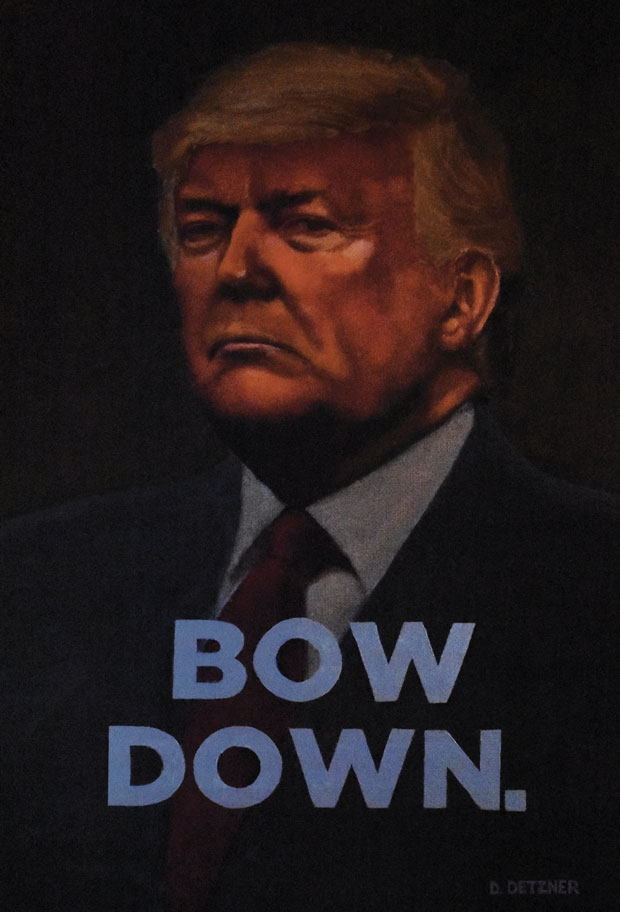 portrait of Donald Trump with text Bow Down
