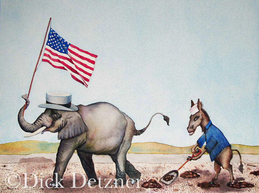 Donkey shoveling poop left by an elephant carrying an American flag