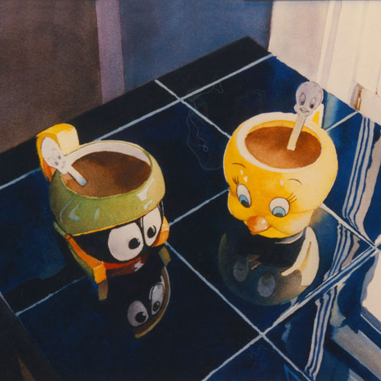 2 figural coffee mugs, Marvin the Martian and Tweety Bird, on a blue counter