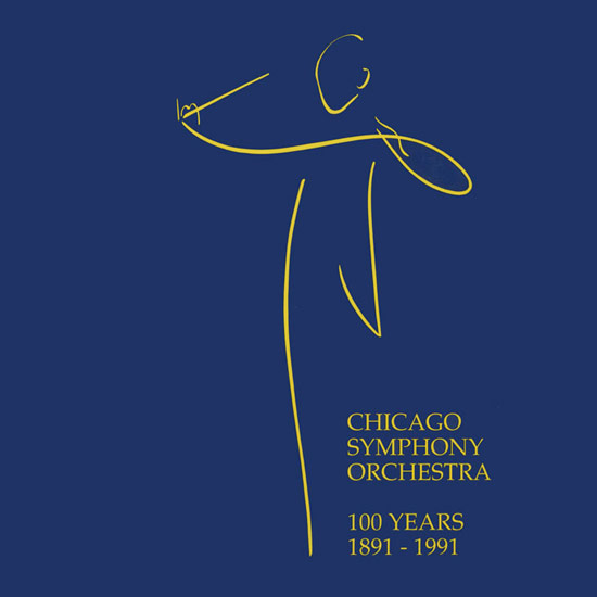 drawing of a conductor with text: Chicago Symphony Orchestra