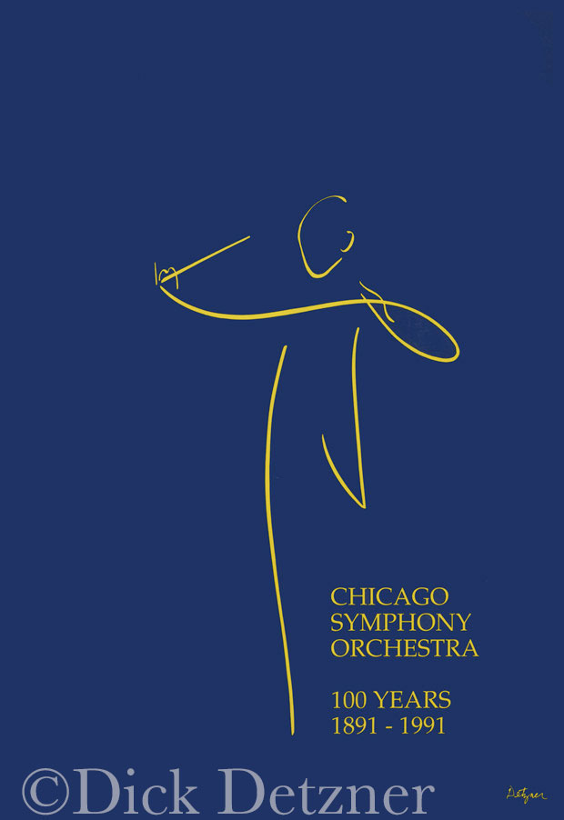 stylized line drawing of a conductor with text: Chicago Symphony Orchestra
