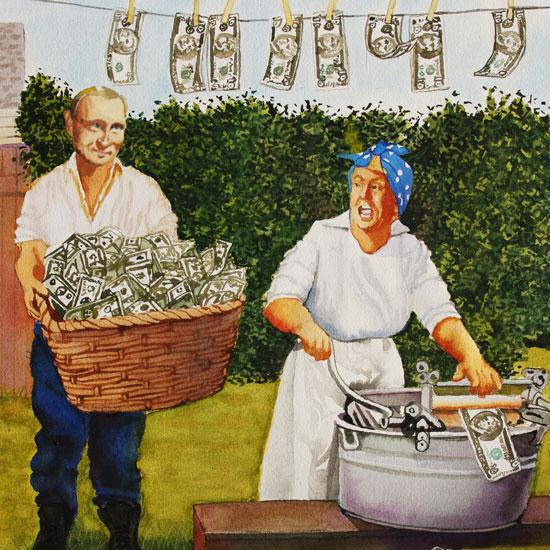 man bringing basket full of dollar bills to woman washing them in old-fashioned laundry tub