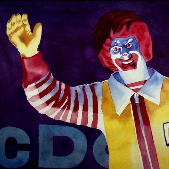 Ronald McDonald looking evil