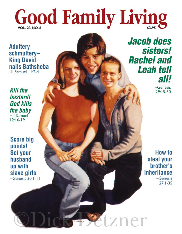 smiling young man with arms around two young women