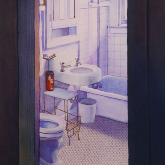 bathroom with white porcelain fixtures and hexagonal floor tiles