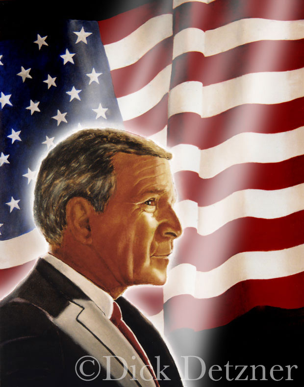 George W. Bush lit up in a in a halo, with American flag in background
