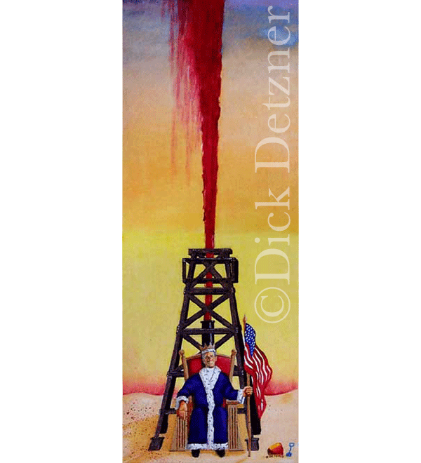 George W. Bush dressed like king sitting on a throne in front of an oil derrick spewing blood