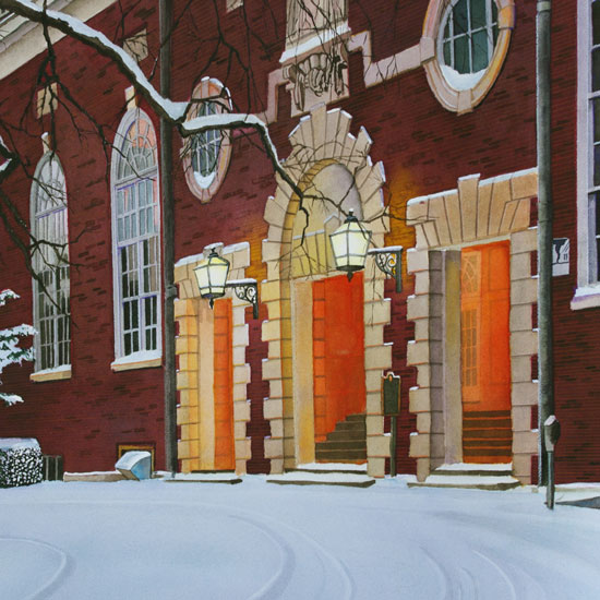 front entrance of Huff Hall, covered in snow