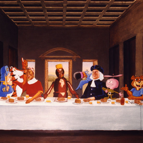 breakfast cereal icons seated at table similar to DaVinci's Last Supper