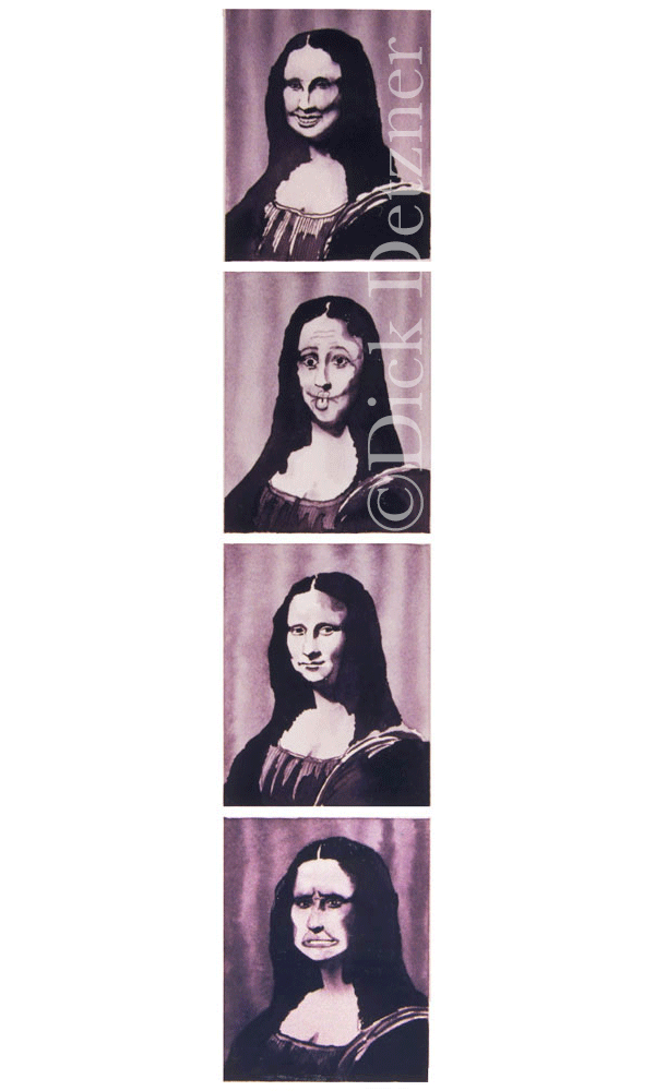 4 images of Mona Lisa making faces