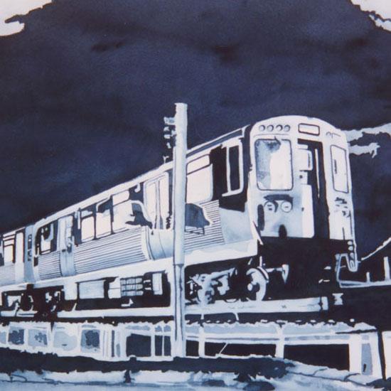 Chicago El train at night