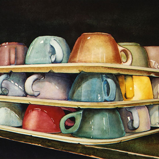 3 stacked trays of coffee cups