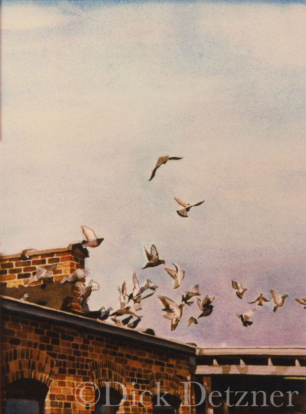 group of pigeons taking flight from a rooftop