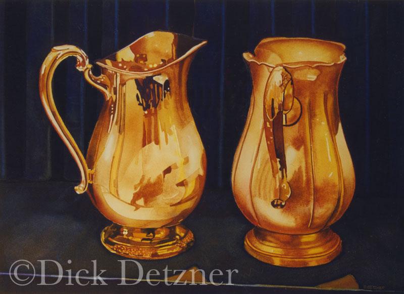 3 ornate silver pitchers