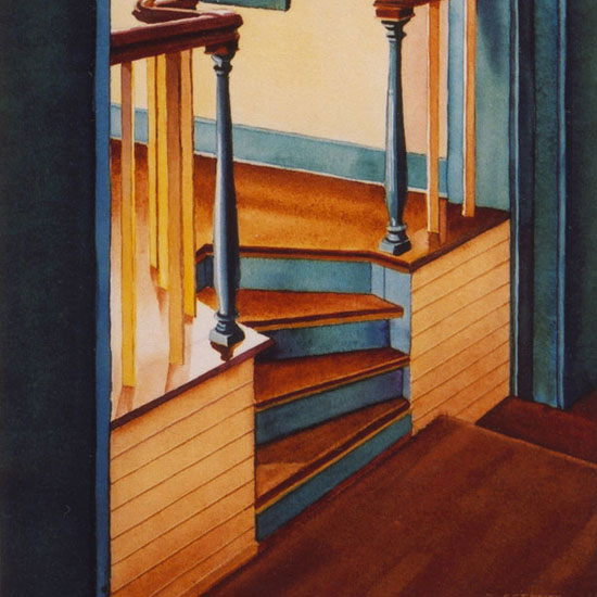 small stairs under a barrell-vaulted hallway
