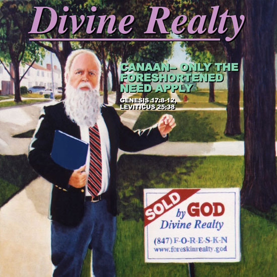 elderly man with long white beard holding up a male foreskin in front of a realty sign