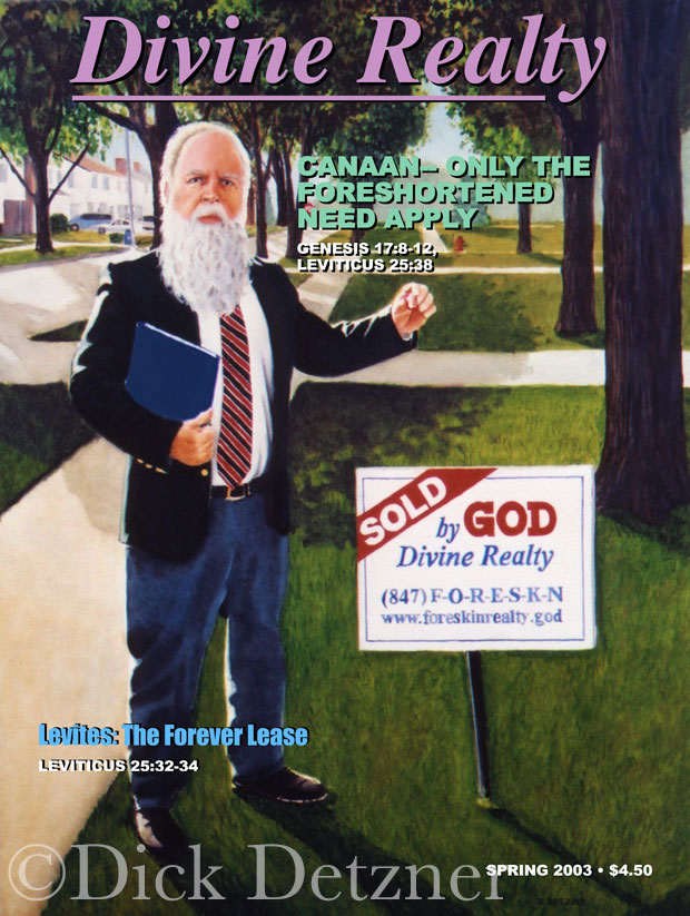 elderly man with long beard holding up a male foreskin in front of a realty sign