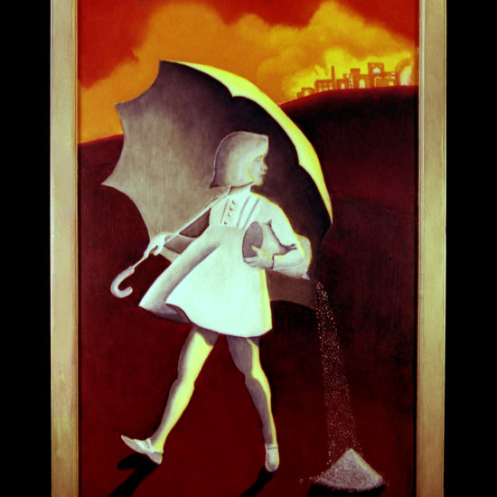 The Morton salt girl looking over her shoulder at a city in flames