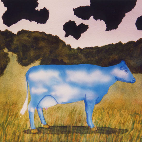 Cow with skin that looks like clouds on a sky