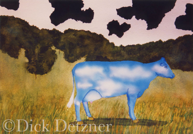 Cow with skin that looks loike clouds on a sky