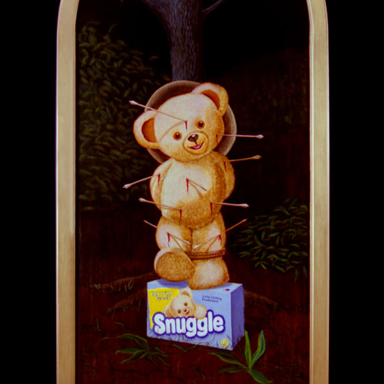 Snugglebear tied to a tree, stuck with arrows