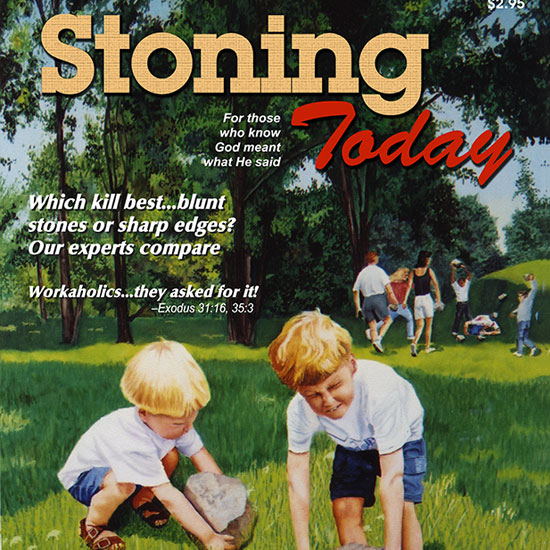 two young boys straining to pick up heavy rocks while in the background someone is getting stoned to death