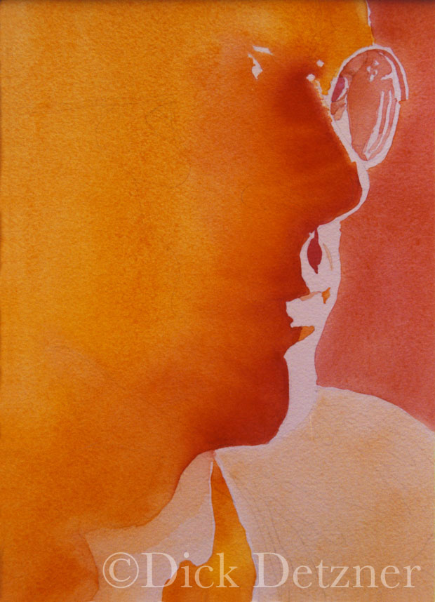 profile of Dick Detzner in orange tones
