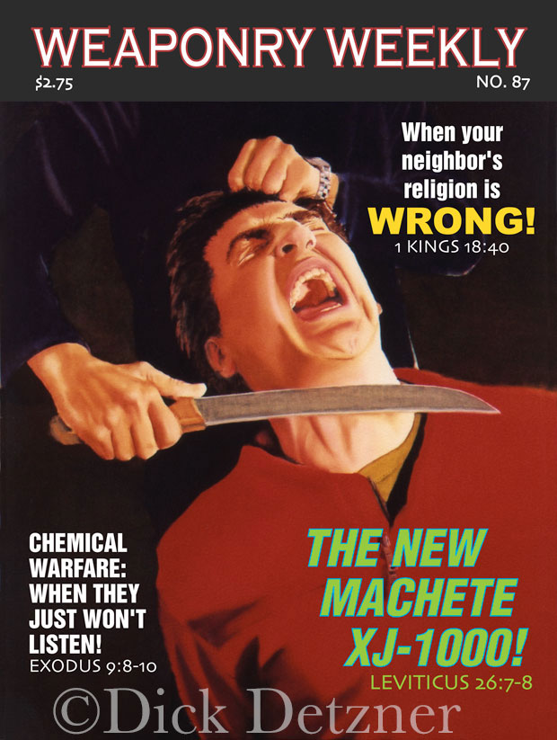 screaming man with hands tied getting throat slit with machete